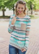 Oasap Round Neck Long Sleeve Striped Printed Pullover Tee Shirt