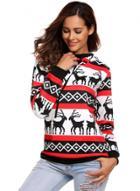 Oasap Long Sleeve Christmas Deer Print Pullover Hoodie