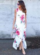 Oasap Sleeveless Floral Irregular Maxi Dress