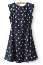 Oasap Floral Sleeveless A-line Dress