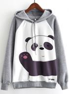 Oasap Cartoon Panda Long Sleeve Pullover Hoodie