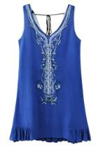 Oasap Embroidery Sleeveless Ruffled Trim Dress