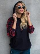 Oasap Fashion Plaid Long Sleeve Pullover Hoodie