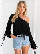 Oasap Lace Up Long Sleeve V Neck Solid Color Sweater