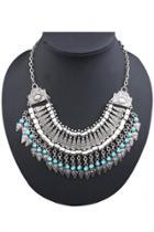 Oasap Vintage Silvery Tassels Bib Necklace