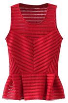 Oasap Sheer Stripe Sleeveless Peplum Top