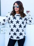 Oasap Round Neck Long Sleeve Pullover Star Sweater