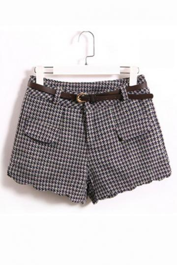 Oasap Worsted High Waistline Shorts With Cross Plaids