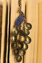 Oasap Antique Gold Peacock Necklace