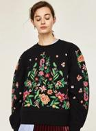 Oasap Floral Embroidered Long Sleeve Pullover Sweatshirt