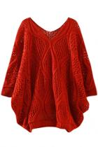 Oasap Charming Loose Cutout Long Sleeve Solid Pullover