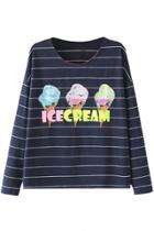 Oasap Sweet Icecream Printed Long Sleeve Tee