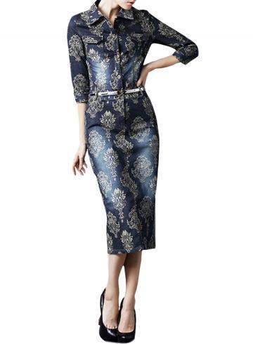 Oasap Women's Floral Print Stand Collar Button Front Denim Dress