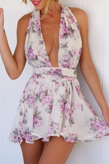Oasap Violet Floral Print Backless Chiffon Rompers
