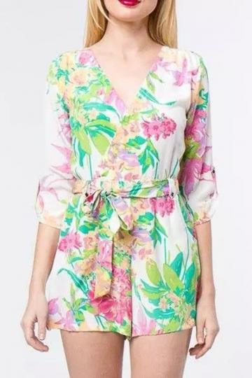 Oasap Fabulous Floral Print White Rompers