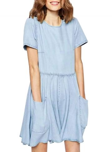 Oasap Women's Fashion Solid Wash Denim Pleated Culottes Rompers