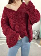 Oasap V Neck Long Sleeve Loose Fit Pullover Sweater