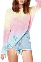 Oasap Women's Fashion Ripped Gradient Ramp Loose Sweater