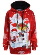 Oasap Long Sleeve Father Christmas Printed Pullover Hoodie