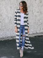 Oasap 3/4 Sleeve Open Front Knit Striped Long Cardigan