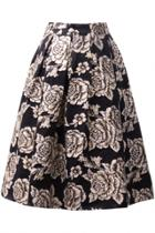 Oasap Vintage Embroidery Floral Pleated Swing Skirt