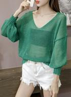Oasap V Neck Lantern Sleeve Solid Loose Fit Sweater