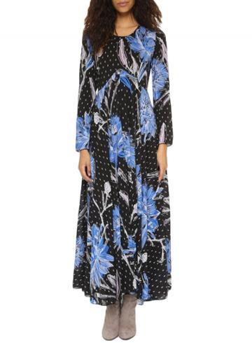 Oasap Women's Fashion Long Sleeve Floral Print Boho A-line Maxi Dress