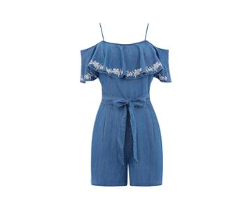 Oasis Frill Embroidered Playsuit