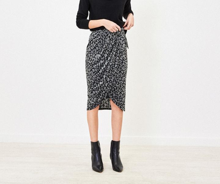 Oasis Animal Velvet Wrap Skirt