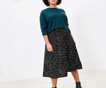 Oasis Curve Spot Midi Skirt