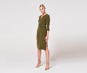 Oasis Belted Pencil Dress