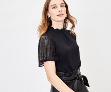 Oasis Embellished Sleeve Top