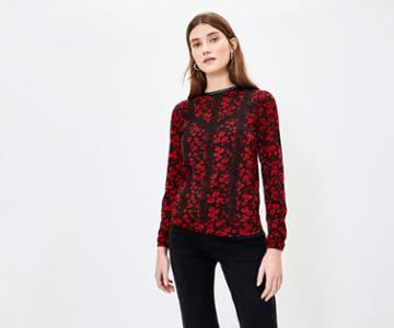Oasis Floral Lace Trim Blouse