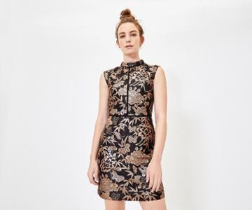 Oasis Oriental Jacquard Shift Dress