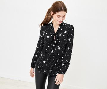 Oasis Star Pussy Bow Shirt