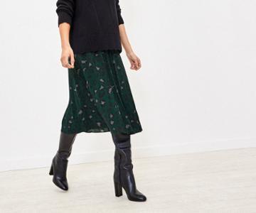 Oasis Animal Pleated Skirt