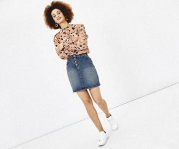 Oasis Button Denim Mini Skirt