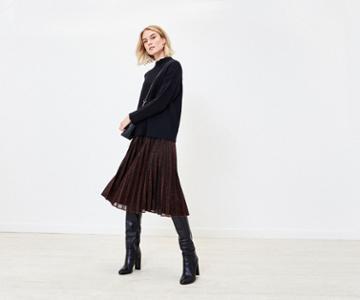 Oasis Sparkle Pleated Midi Skirt