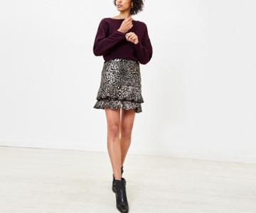 Oasis Foil Leopard Mini Skirt