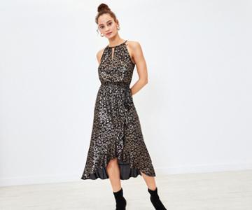 Oasis Foil Leopard Midi Dress