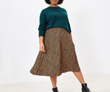 Oasis Curve Leopard Midi Skirt