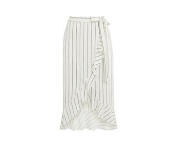 Oasis Wrap Pinstripe Skirt