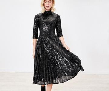 Oasis Sequin Pleated Midi Dress