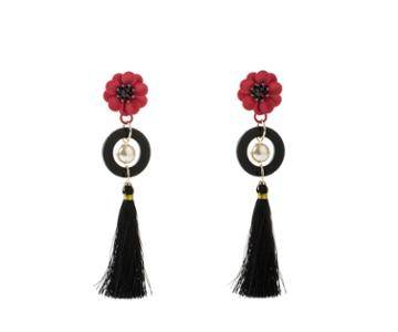 Oasis Flower Tassel Earrings