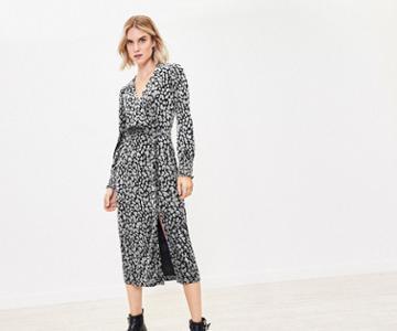 Oasis Animal Velvet Wrap Dress