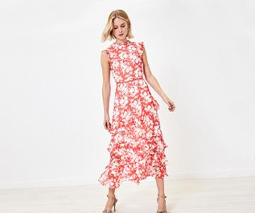 Oasis Shadow Floral Midi Dress
