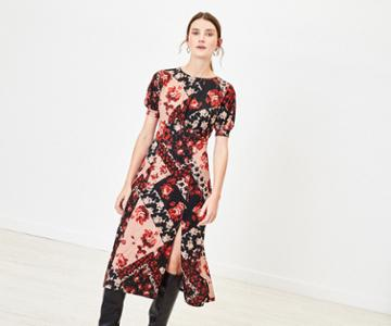 Oasis Rose Print Midi Dress