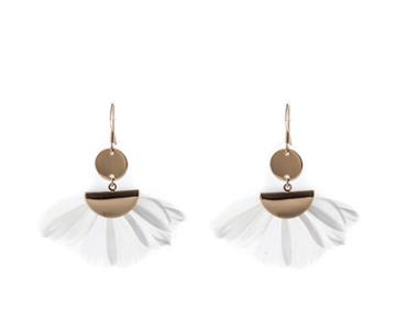 Oasis White Feather Earrings