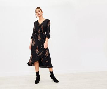 Oasis Foil Leaf Midi Dress