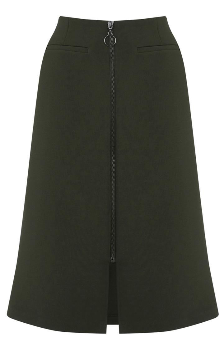 Oasis Zip Front Aline Midi Skirt